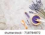 essential oil and lavender salt ... | Shutterstock . vector #718784872