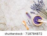 essential oil and lavender salt ... | Shutterstock . vector #718784872