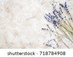 essential oil and lavender salt ...   Shutterstock . vector #718784908