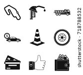 buying car icons set. simple... | Shutterstock .eps vector #718788532