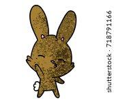 curious waving bunny cartoon   Shutterstock .eps vector #718791166