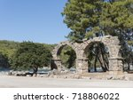 the remains of the aqueduct at... | Shutterstock . vector #718806022