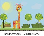 vector illustration of cute... | Shutterstock .eps vector #718808692