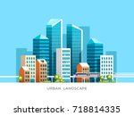 urban landscape with... | Shutterstock .eps vector #718814335