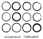 set of grunge circles.vector... | Shutterstock .eps vector #718816825