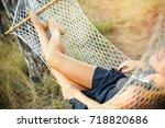 beautiful woman's legs in... | Shutterstock . vector #718820686
