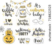 autumn lettering isolated on... | Shutterstock .eps vector #718822525