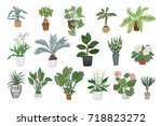 hand drawn tropical house... | Shutterstock . vector #718823272
