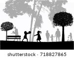 family silhouettes in nature. | Shutterstock .eps vector #718827865