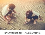 asian brother and sister...   Shutterstock . vector #718829848