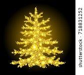 christmas tree from scattered... | Shutterstock .eps vector #718831252