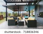 tropical summer luxury villa... | Shutterstock . vector #718836346