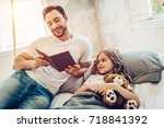 handsome man is spending time...   Shutterstock . vector #718841392