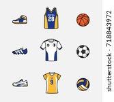 sport vector set of equipments... | Shutterstock .eps vector #718843972