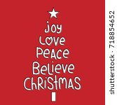christmas greeting with joy ... | Shutterstock .eps vector #718854652
