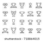 premium set of trophy line...   Shutterstock .eps vector #718864015