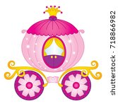vector cartoon princess... | Shutterstock .eps vector #718866982