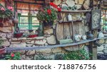 antique objects on the stone ... | Shutterstock . vector #718876756