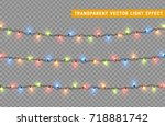 christmas lights isolated... | Shutterstock .eps vector #718881742