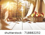 autumn table of free space for... | Shutterstock . vector #718882252
