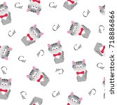 cute seamless pattern with... | Shutterstock .eps vector #718886866