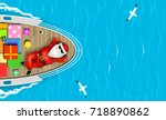 santa claus is swimming on a... | Shutterstock .eps vector #718890862