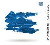 blue brush stroke and texture....   Shutterstock .eps vector #718891102