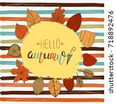 hellor autumn flyer template...   Shutterstock .eps vector #718892476