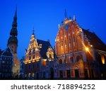 historic buildings in riga ... | Shutterstock . vector #718894252