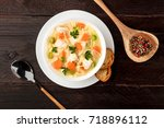 an overhead photo of a plate of ... | Shutterstock . vector #718896112