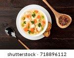 an overhead photo of a plate of ... | Shutterstock . vector #718896112