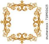 gold vintage baroque element...   Shutterstock .eps vector #718902625