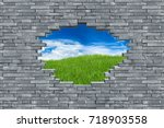 gray slate stone rock wall with ... | Shutterstock . vector #718903558