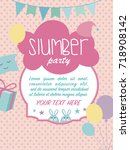 slumber party invitation card.... | Shutterstock .eps vector #718908142