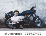 handsome young men with black... | Shutterstock . vector #718917472