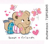 happy cute teddy bear girl in... | Shutterstock .eps vector #718918045