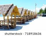 mini house building decorate... | Shutterstock . vector #718918636