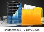 3d illustration of office... | Shutterstock . vector #718922236