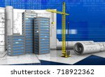3d illustration of city... | Shutterstock . vector #718922362