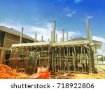 building site with new homes... | Shutterstock . vector #718922806