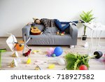 hangover after a party | Shutterstock . vector #718927582
