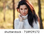 portrait of a beautiful smiling ... | Shutterstock . vector #718929172