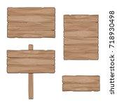 wooden boards. set of vector... | Shutterstock .eps vector #718930498