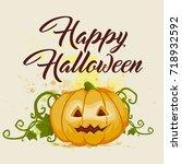 halloween background with... | Shutterstock .eps vector #718932592