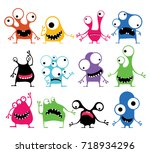 set of twelve cute color... | Shutterstock .eps vector #718934296