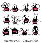 set of twelve cute black... | Shutterstock .eps vector #718934302