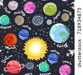 hand drawn solar system. vector ... | Shutterstock .eps vector #718934875