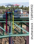 Small photo of Peter Skene Ogden State Park, Oregon - September 02 :People experiencing a thrill and adrenaline rush by bunker jumping of the bridge. September 02 2017, Peter Skene Ogden State Park Oregon.