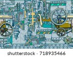 abstract seamless industrial... | Shutterstock .eps vector #718935466