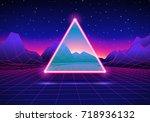 retro styled futuristic... | Shutterstock .eps vector #718936132